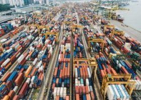 Crowded International Container Port